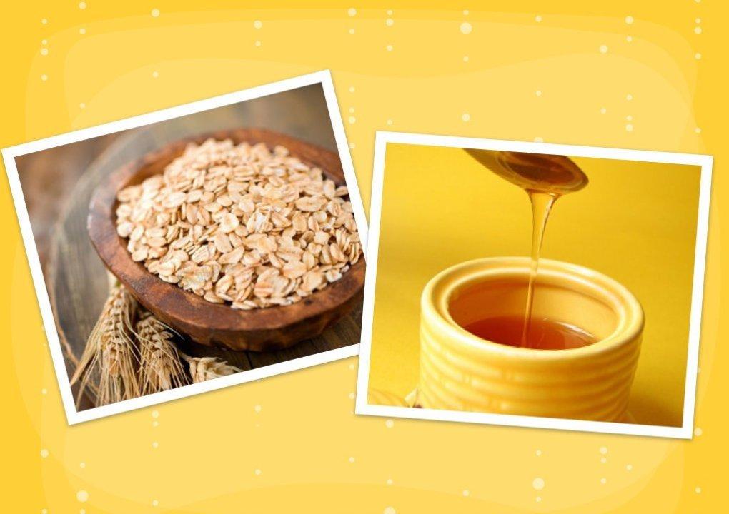 yến mạch và mật ong giúp điều trị mụn thâm ở lưng